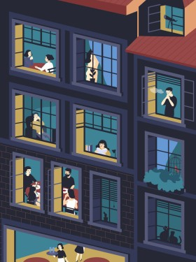 Facade of building with opened windows and people living inside. Men and women eating, smoking, reading, talking in their apartments. Concept of neighbors and neighborhood. Vector illustration.